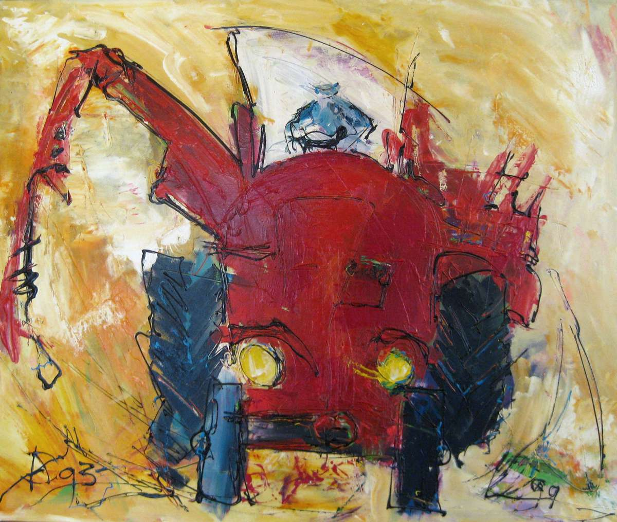 Arno Overdevest - Tractor rood - Acryl - 120x100