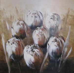 Jochem de Graaf - Tulips in brown - Olieverf - 100x100