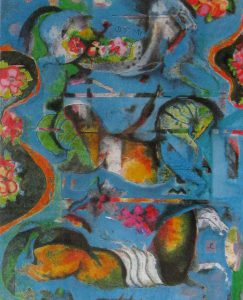 Astrid Engels - Horses and flowers - Druk overig - 68x80