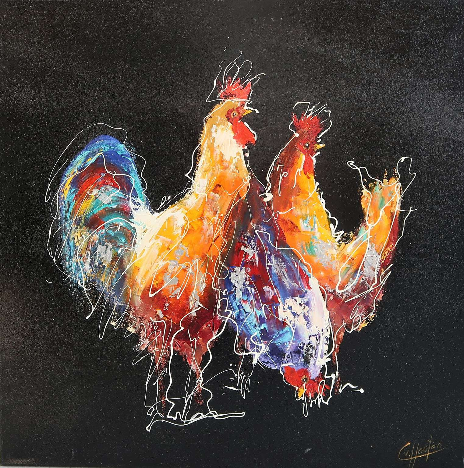 Caspar van Houten - Three chickens tonight - Olieverf - 100x100