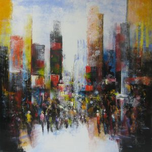 Henry Brand - The city never sleeps - Olieverf - 120x120